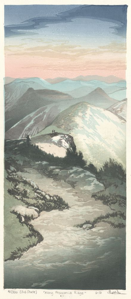 Matt Brown Woodblock Print Along Franconia Ridge, 3rd State