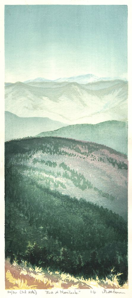 Matt Brown Woodblock Print East Of Moosilauke, 3rd State