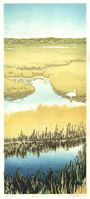 Matt Brown Woodblock Print Egret