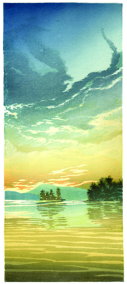 Matt Brown Woodblock Print Evening on Lake Winnipesaukee