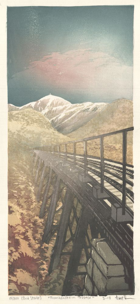 Matt Brown Woodblock Print Frankenstein Trestle, 2nd State