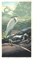 Matt Brown Woodblock Print Great Blue Heron, 2nd state