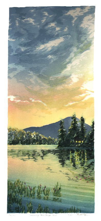 Matt Brown Woodblock Print Kearsarge from Eagle Pond