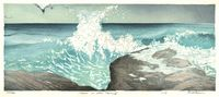 Matt Brown Woodblock Print Waves On Little Thrumcap