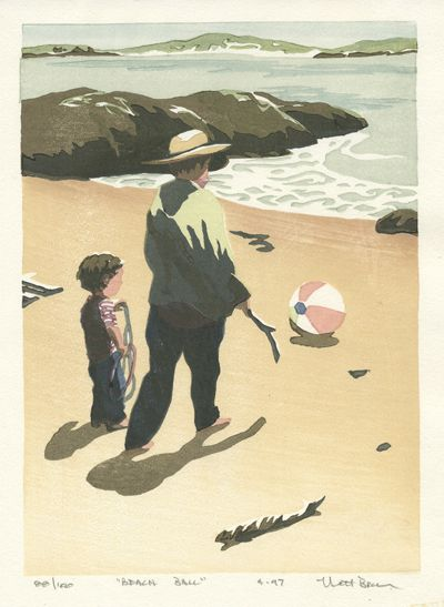Matt Brown Woodblock Print Beachball
