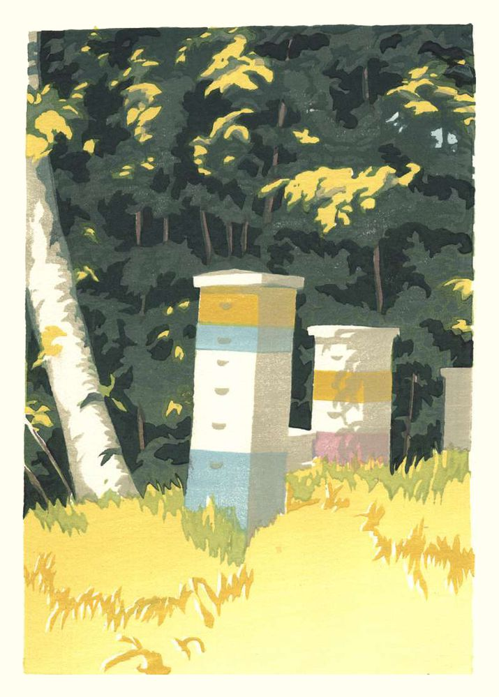 Matt Brown Woodblock Print Bees By The Trees, 2nd State