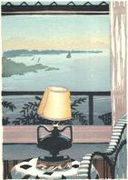 Matt Brown Woodblock Print Bell Buoy At Dawn