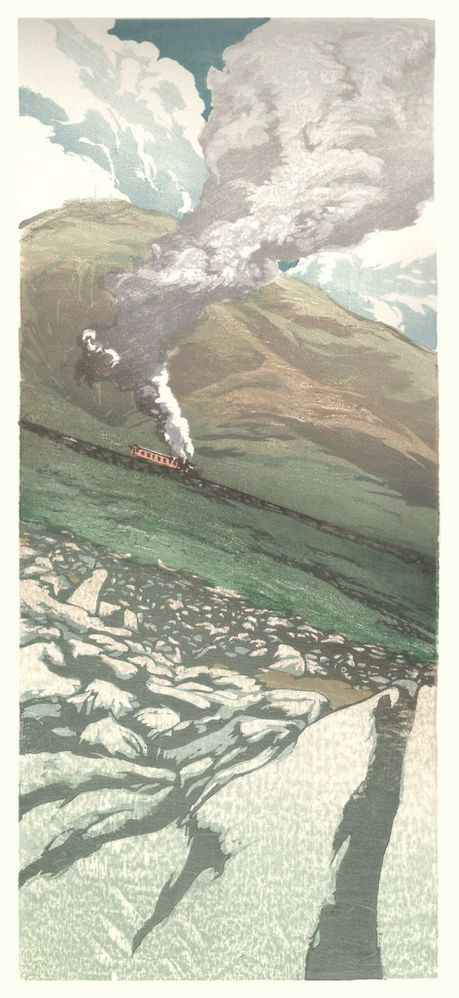 Matt Brown Woodblock Print Cog Railway