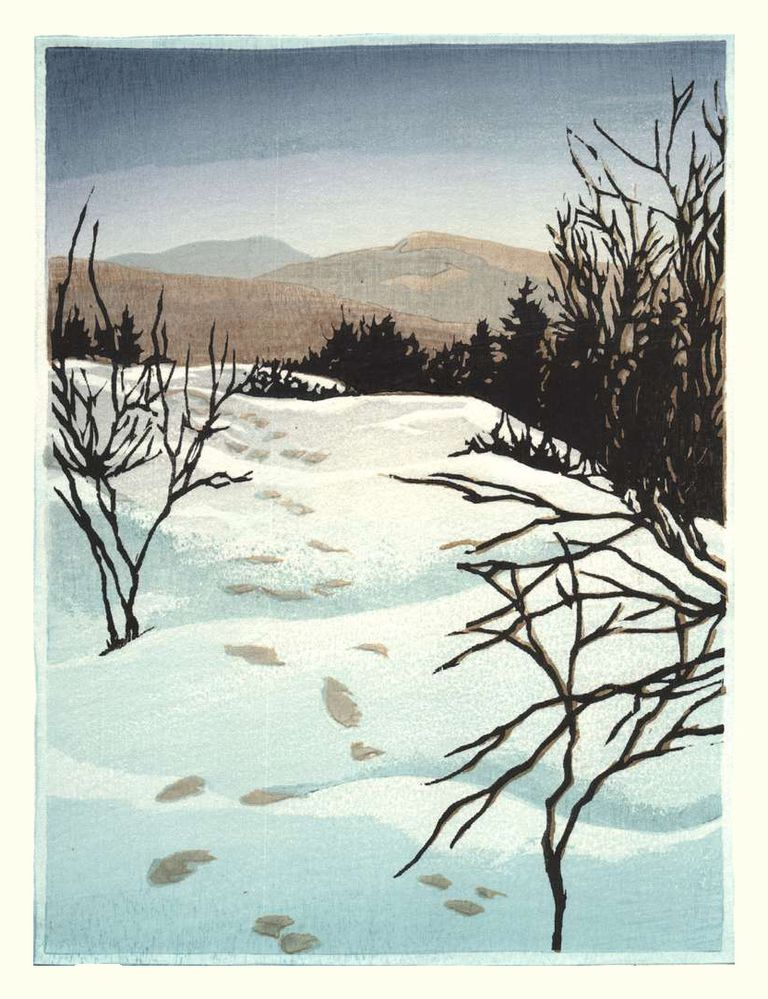 Matt Brown Woodblock Print Footprints On Lambert Ridge, 2nd State