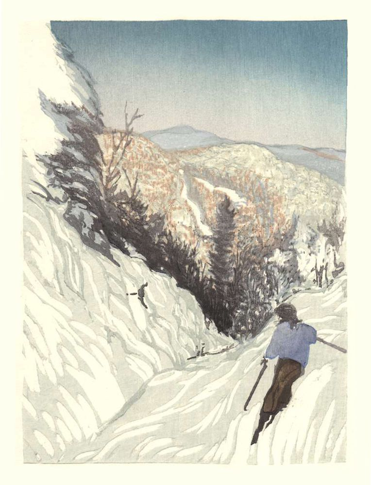 Matt Brown Woodblock Print Paradise At Mad River Glen
