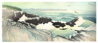 Matt Brown Woodblock Print Pemaquid From Little Thrumcap