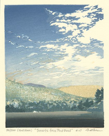 Matt Brown Woodblock Print Smarts From Pout Pond, 3rd State
