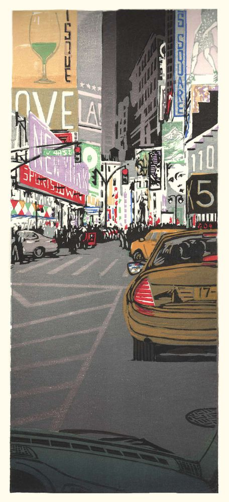 Matt Brown Woodblock Print Times Square at Night