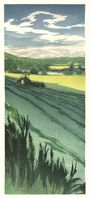 Matt Brown Woodblock Print Windrows Along The Connecticut